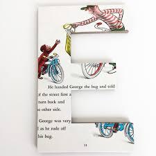 curious george custom wood letters children s book pages nursery alphabet décor storybook name art monkey nursery
