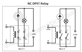 dpst relay in the schematics above if we use a nc dpst relay the contacts will be closed out voltage being applied to the coil and opened when we apply voltage to
