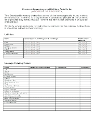 Property Inventory Template Free Download Word Inventory Template Free Landlord Inventory Template House Word