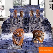 double size tigers on water 3d print 6pcs duvet cover bedding set 100 cotton