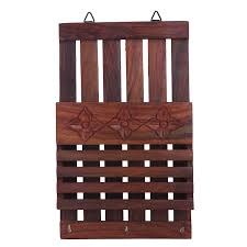 hamee wooden wall mount letter organizer and key holder 3 hooks