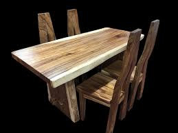 Live Edge Dining Set with 4 Custom Chairs  teak wood dining table
