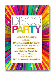 Childrens Disco Invitations 40 Personalised Disco Birthday Party Invitations Invites Complete With Envelopes Ref Bd15
