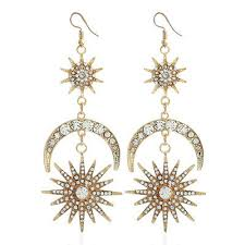 <b>Luxury</b> Sun <b>Moon</b> Drop Earrings Shiny Rhinestone <b>Crystal</b> Ear Hook ...