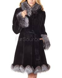 sheared black mink coat with silver fox trim