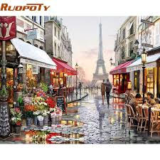 ruopoty paris street diy painting by numbers handpainted canvas painting home wall art picture for living