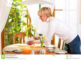 w setting the table for tea of coffee time stock image recipes w setti