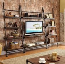 black iron furniture. Interesting Black Iron Leaning Bookcase With Tv Desk Furniture O