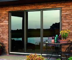 stylish three panel sliding glass patio doors bronze fiberglass 3 panel sliding patio door with low