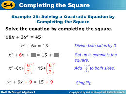 example 3b solving a quadratic equation by completing the square