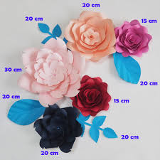 Paper Flower Suppliers Us 35 45 29 Off Aliexpress Com Buy Diy Giant Paper Flowers Fleurs Artificielles Backdrop Artificial Rose 5pcs 4 Leaves Wedding Party Decor Nursery