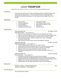 Best Commercial Parts Pro Resume Example Livecareer