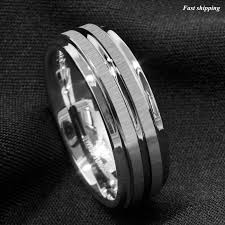 Tungsten Carbide Ring Size Chart Details About 8mm Silver Tungsten Carbide Ring Two Vertical Brushed Meteorite Wedding Band