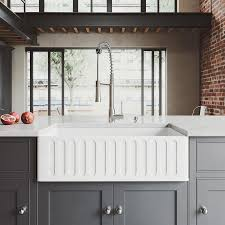 vigo kitchen collection platinum 33 in x 18 in white single basin standard drop in a front farmhouse residential kitchen sink all in one kit