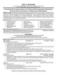 ... Sample Resume For Electrical Technician 3 Electrician Example ...