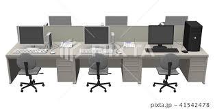 事務所 パソコン イラストのイラスト素材 Pixta