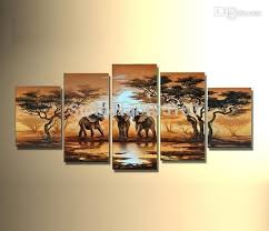 best hand painted oil painting abstract landscape african painting canvas elephants giraffe pictures modern room decor wall art under 64 68 dhgate com