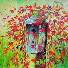 birdhouse with autumn leaves acrylic painting tutorial by angela anderson on you painting birdhouse