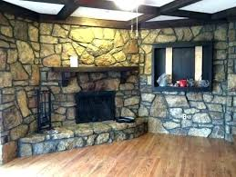 painted stone fireplace makeover faux rock stacked pictures home ideas