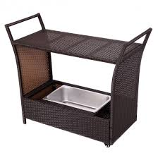 rattan patio rolling kitchen trolley cart with storage box kitchen dining carts carts islands furniture