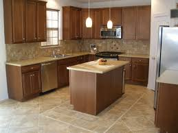 Rectangular Kitchen Tiles Rectangle Brown Tile Kitchen Floor Plus Brown Wooden Table And