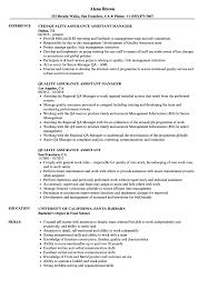 Quality Assurance Assistant Resume Samples Velvet Jobs