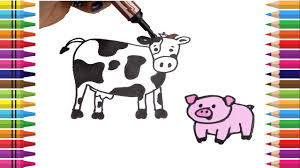 How To Draw Farm Animals Coloring Pages Cow Horse Pig Dog