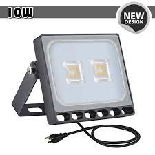 1x 10w led flood light with us plug warm white outdoor spotlight garden lamp