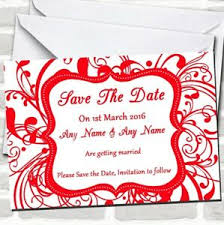 Red Save The Date Cards Details About White Red Swirl Deco Wedding Save The Date Cards