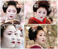inspiration board for geisha hair and makeup