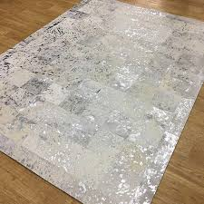 rugs patchwork leather cubed cowhide white silver