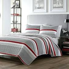 3 piece boys full queen red grey white rugby stripes quilt set striped horizontal lines nautical rugby stripe comforter bedding charming girls pink white