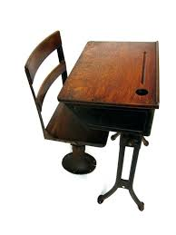 vintage school desk and chair antique childs with separate stand alone cast iron wood oak