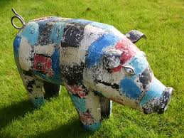 this large metal painted pig garden ornament is a colourful hand painted large pig will add