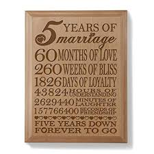 kate posh 5th anniversary engraved natural wood plaque 5th wedding for her for