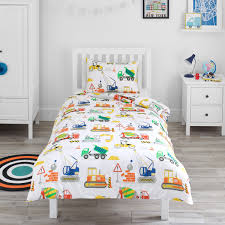 construction vehicles single duvet set