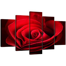 home ideas elegant red wall art home decorating ideas large rose canvas 5 panel in display on 5 panel wall art uk with elegant red wall art home decorating ideas large rose canvas 5 panel