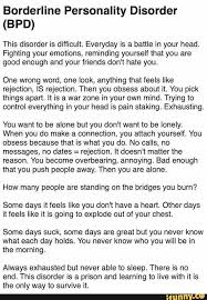 borderline personality disorder bpd this disorder is difficult everyday is a battle in your head fighting your emotions reminding yourself that you are