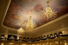 disney be our guest restaurant beauty and the beast chandelier ceiling