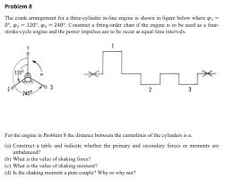 Two Stroke Engine Troubleshooting Chart Solved Problem 8 The Crank Arrangement For A Three Cylind