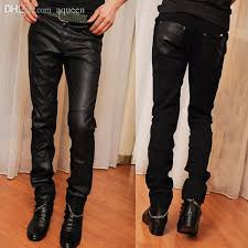 2019 whole relaxed mens faux leather pants chaparajos jeans boys skinny pencil trousers hotc from aqueen 26 48 dhgate com