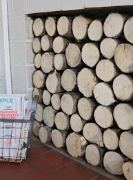 faux log stack for the fireplace