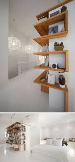 Shelving Design Idea - Shelves That Wrap Around Corners // This loft has  wooden shelves