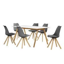Encasa Esstisch Bambus Weiß Mit 6 Stühlen Grau Gepolstert 180x80cm Esszimmer Essgruppe Küche