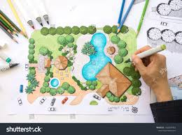 Garden Landscape Design Drawings Layout Plan Clubhouse Landscape Design Garden Stock Photo