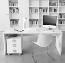 wooden office storage. Elegant White Lacquer Finish Wooden Office Desk With Storage Drawers Which Has Wheels Plus Fiberglass Chair Using Steel Legs