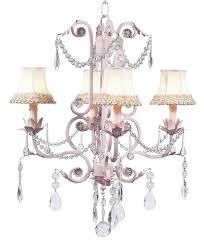 chic pink chandelier with pink and green flower shades