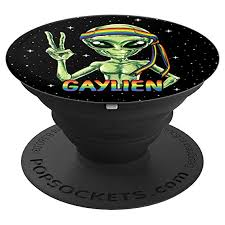 lien alien pride lgbt rainbow flag funny ufo gifts popsockets grip and stand for