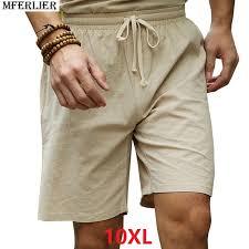 <b>MFERLIER summer</b> Shorts <b>men</b> linen cotton plus big size 6XL 7XL ...