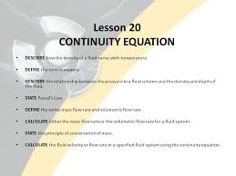 lesson 20 continuity equation describe how the density of a fluid varies with temperature